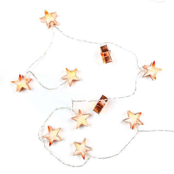 Rose gold star string light