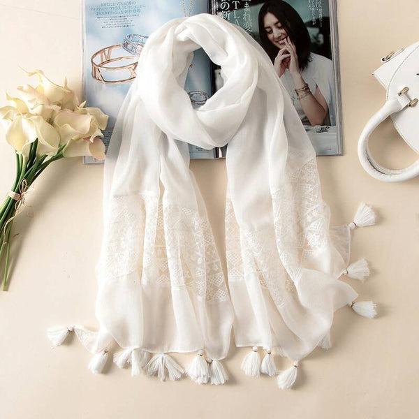 Summer in Casablanca Scarf | White Hijab