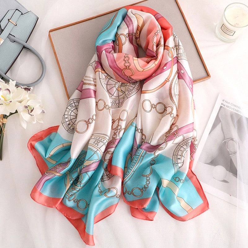 Romantique Vintage Pattern Hijab - Luxury silk scarf