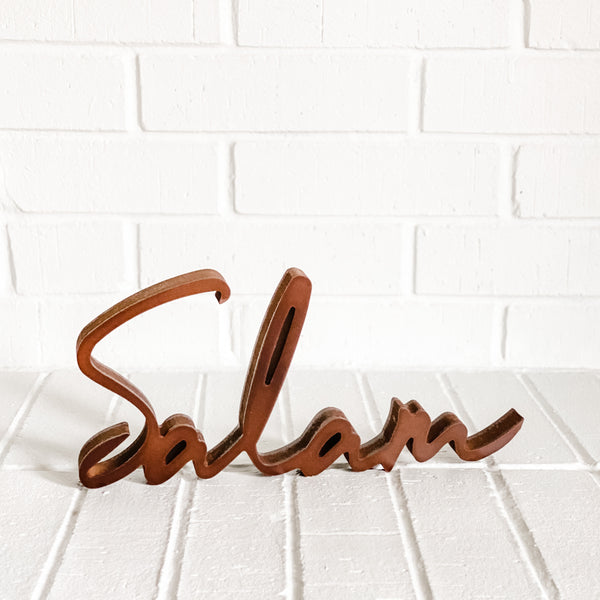 Wooden Salam sign - word art - Muslim Home Decor - WithASpin