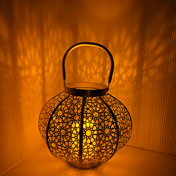 Qamar Metal Lantern - Antique Gold