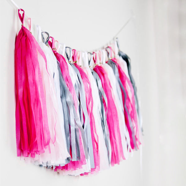 Charming Eid Party decor - Girl's room Eid party decor - Tassel garland Pink white silver