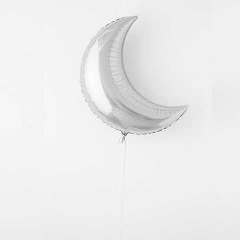 Large Crescent Mylar Balloons - Silver