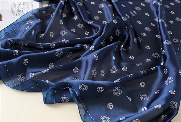 Navy blue floral hijab - Luxury silk hijab