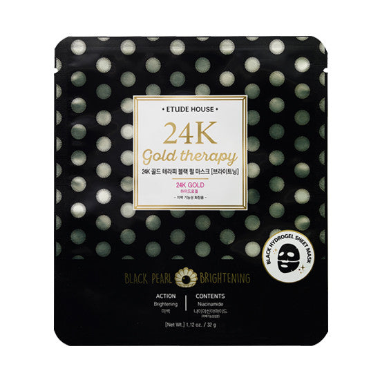Etude House - 24K Gold Therapy Fantastic Gold Black Pearl Mask 32g x 5paket