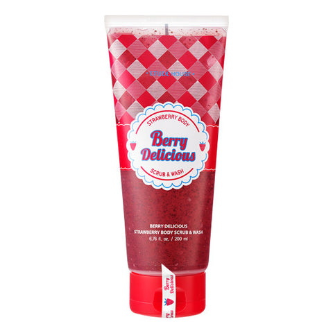Etude House - Berry Delicious Strawberry Body Scrub N Wash 200ml