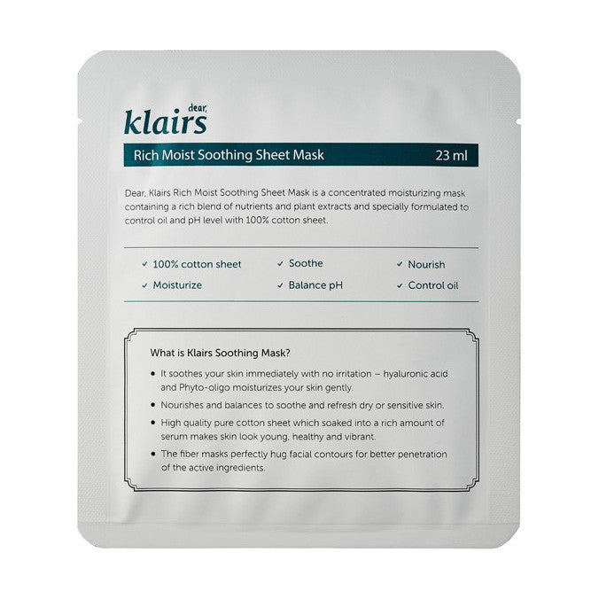 Klairs - Rich Moist Soothing Mask 23ml