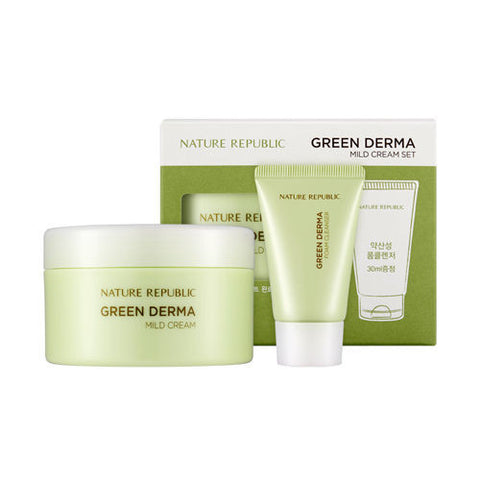 Nature Republic - Green Derma Mild Cream Set (Mild Cream + Foam Cleanser)