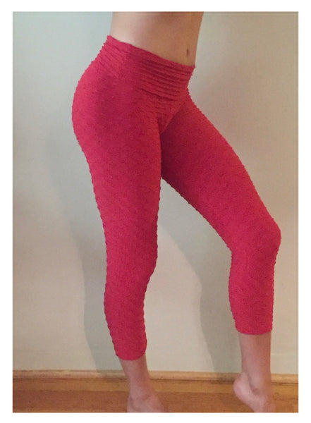Textured Leggings in Red - She By Anna