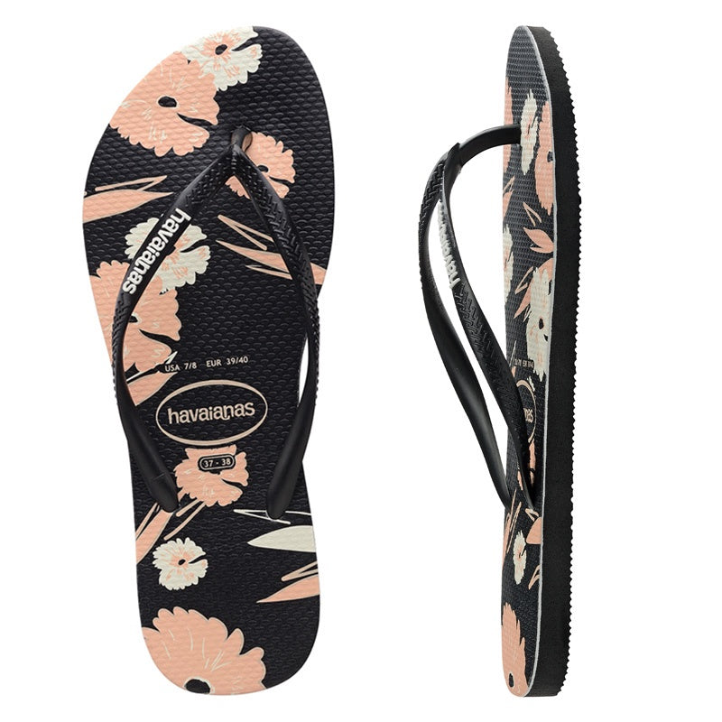 Slim Floral Basic Thongs - Female