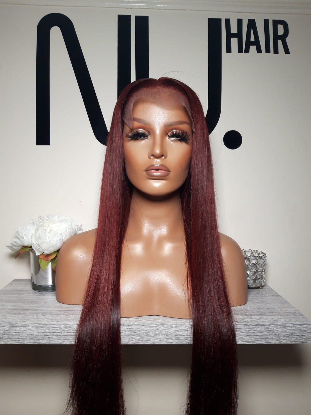 Dark red closure wig