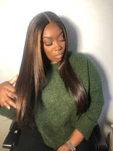 "Peace - 24"" Brown wig with highlights - Nu Hair"