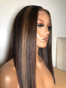 Ropo - Chocolate long bob wig with Highlights - Nu Hair