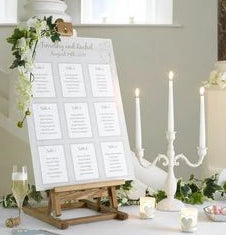 Event seating plan mounted to rigid board.
