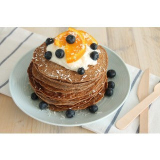Protein pancakes with coconut yoghurt and fresh fruit