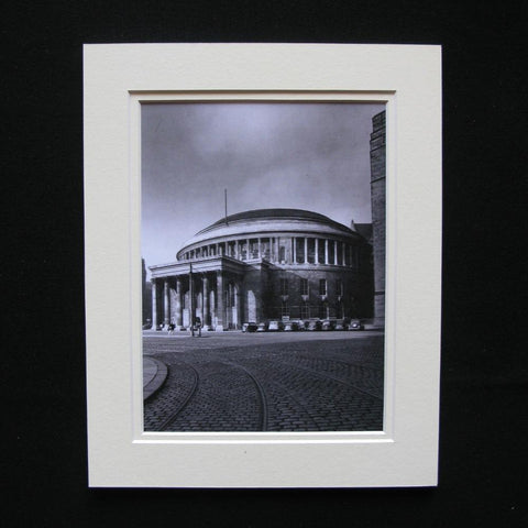 Black and white mounted print of Central Library from 1955