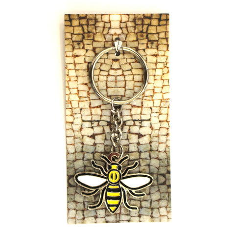 Enamel worker bee keyring featuring image of the mosaic bee floor from Manchester Town Hall