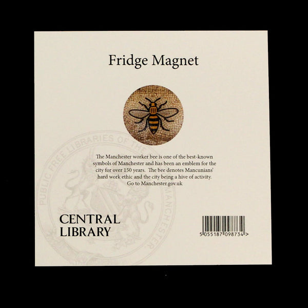Rear of fridge magnet featuring image of the mosaic bee floor from Manchester Town Hall