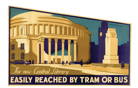 Central Library - Easily Reached by Tram or Bus poster 1934