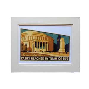 Manchester Central Library, 1934 10x8 Mounted Print