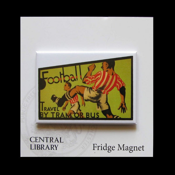 Fridge Magnet showing a football poster for trams and buses 1933