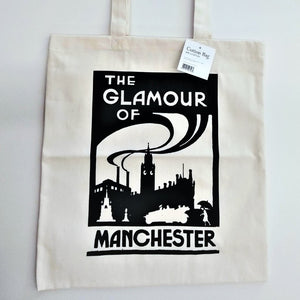 Cotton tote bag featuring - The Glamour of Manchester image. It was taken from the book by the Irish poet D.L Kelleher, design by J.M Gannon (1920)