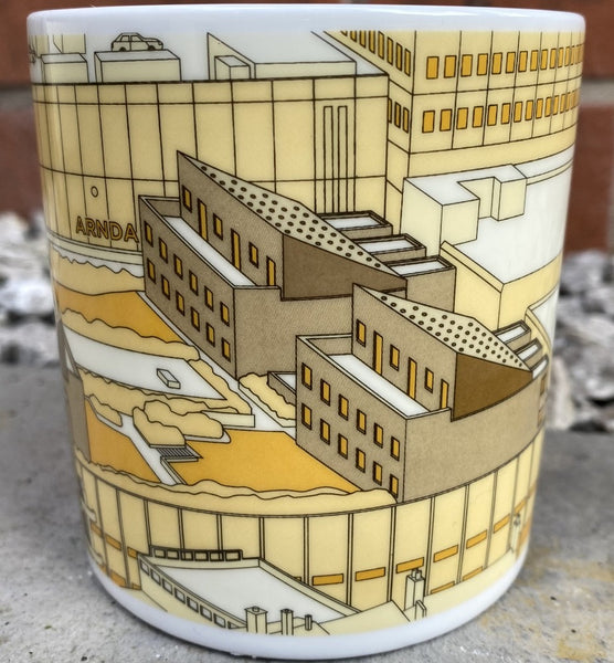 Rebuilding Manchester Mug showing line drawing of Cromford court flats above the Arndale Centre