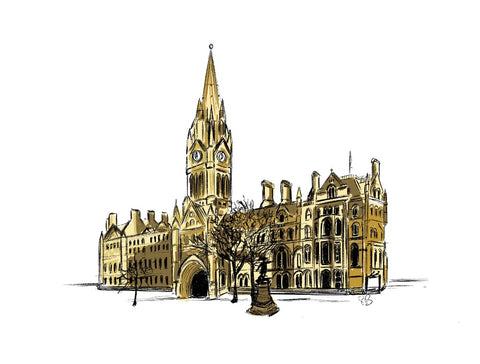 A digital print of a hand drawn illustration of the Town Hall