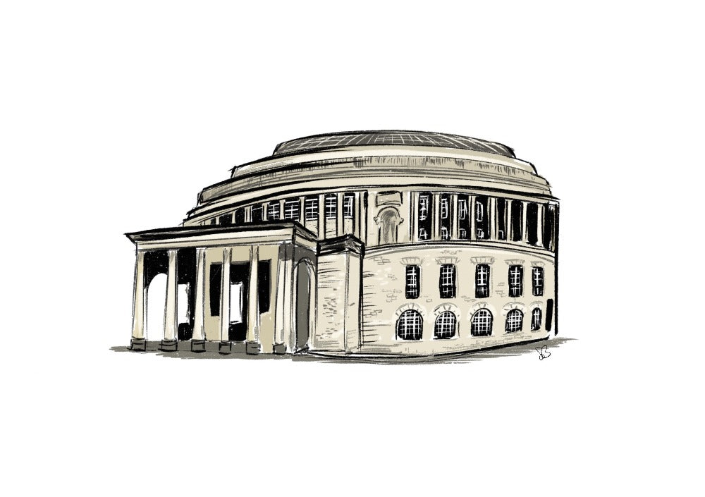 A digital print of a hand drawn illustration of the Central Library.