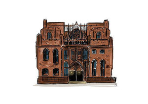 A digital print of a hand drawn illustration of John Rylands Library.