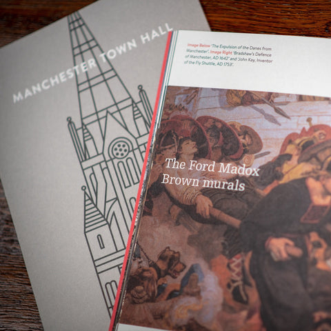 Manchester Town Hall book cover and page open at Ford Maddox Brown mural.