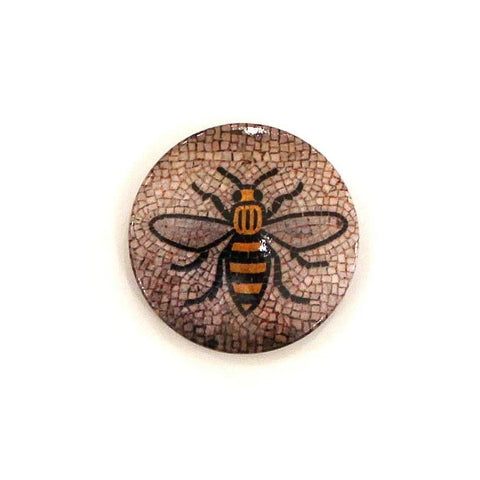 Small Button Badge featuring image of the mosaic bee floor from Manchester Town Hall