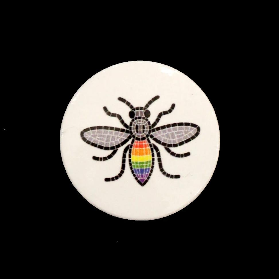 Small Button Badge featuring image of a rainbow mosaic bee