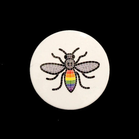 Rainbow Bee Button Badge
