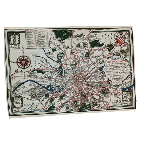 1926 Manchester Civic Week Map Tea towel