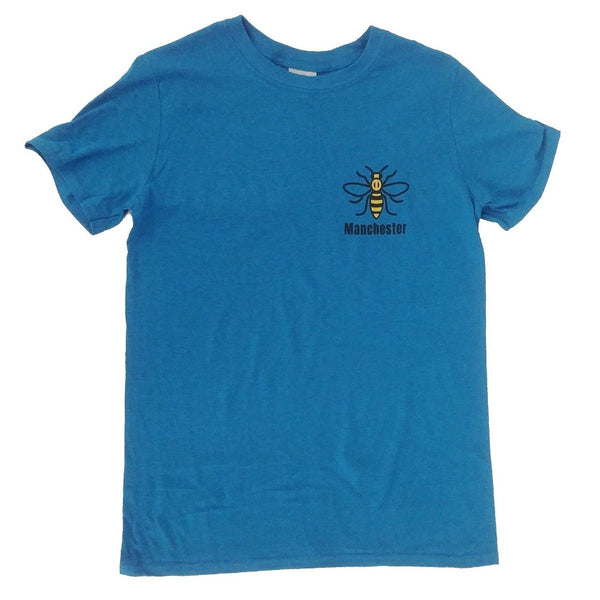 Antique Sapphire Blue T-Shirt featuring the Manchester worker bee.