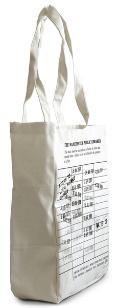 Cotton bag with printed image of Manchester Libraries date stamp label. Dates from 1976 to 1993