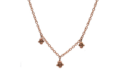 14k Rose Gold Flower Bud Charm Necklace