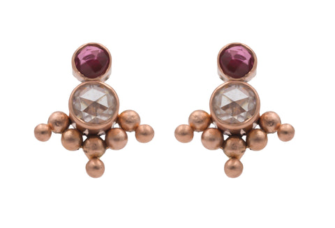14k Rose Gold May Queen Stud Earrings with Moissanite and Tourmaline