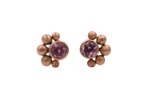 14k Rose Gold Tourmaline Stud Earrings