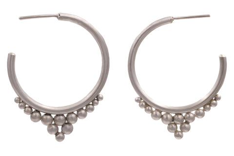 Sterling Silver Granulation Hoop Earrings