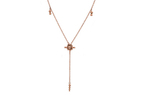 14k Rose Gold Granulation Y Necklace