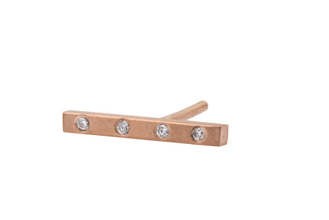 Diamond Bar Stud - Rose Gold