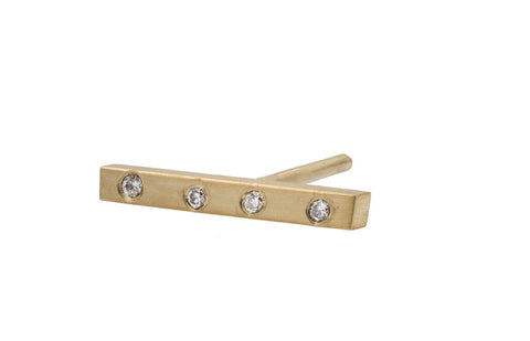 Diamond Bar Stud - Yellow Gold