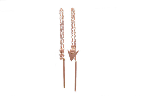 Rose Gold Ball & Arrow Threader Earrings