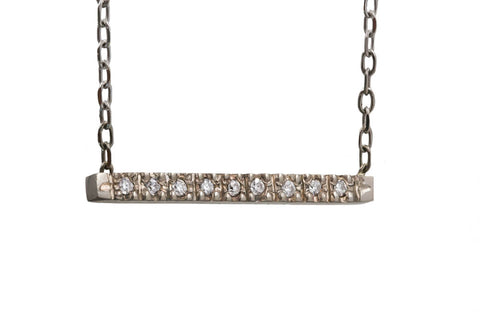 Gold Pavé Diamond Bar Necklace