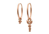 Rose Gold Diamond Crescent Endless Hoop Earrings