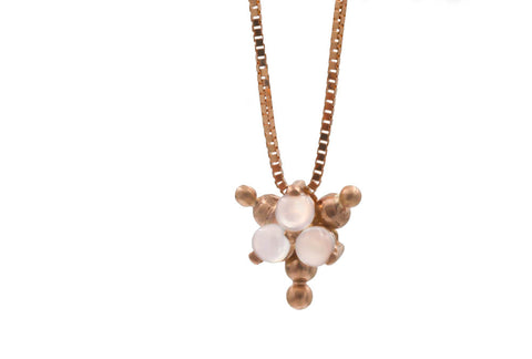 Rose Gold Moonstone Cluster Necklace
