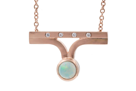 Rooney Bar Necklace - Rose Gold