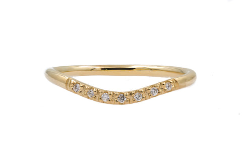 Gold Curved Pavé Diamond Band